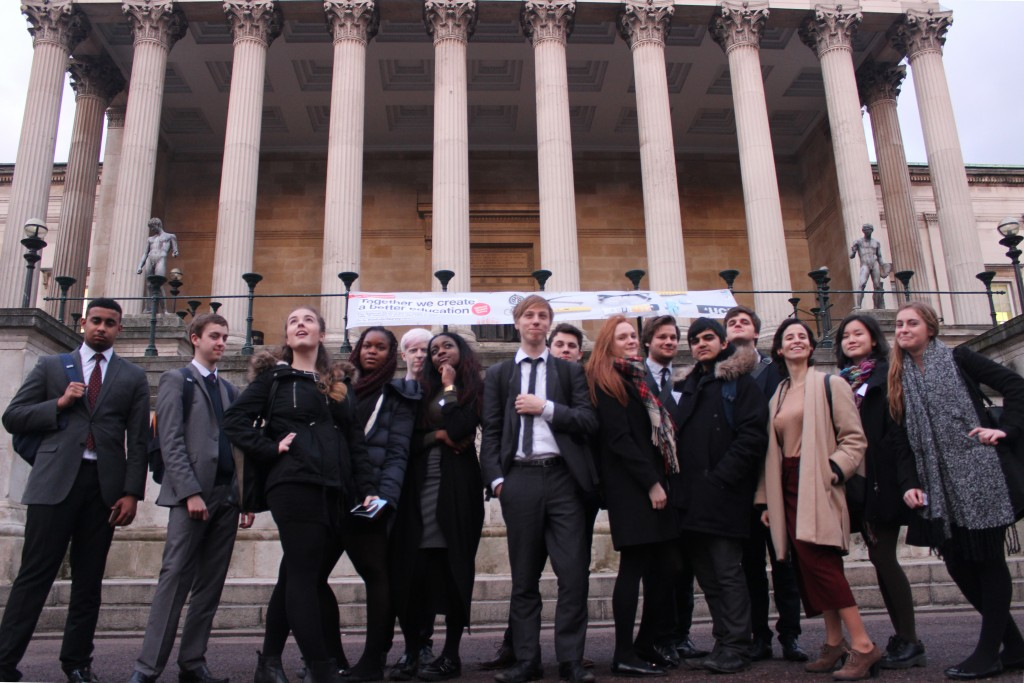 The first ORBYTS group – in front of UCL's Portico